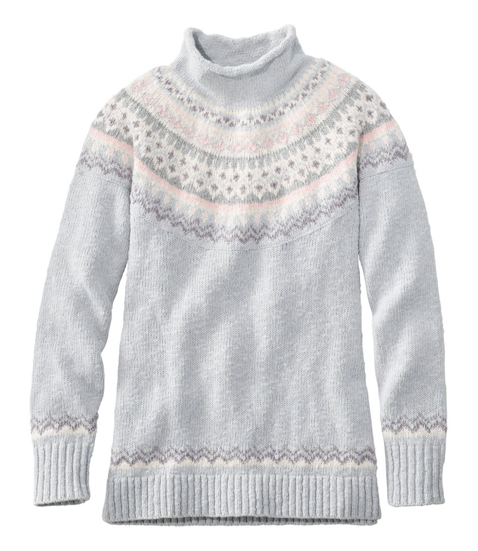 Cotton Ragg Sweater, Funnelneck Pullover Fair Isle