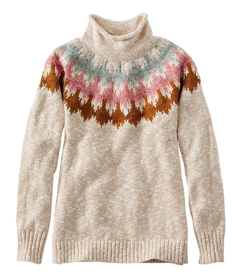 Cotton Ragg Sweater, Funnelneck Pullover Fair Isle