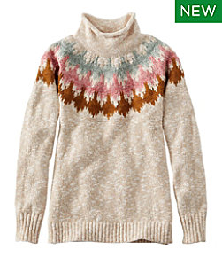Women's Cotton Ragg Sweater, Funnelneck Pullover Fair Isle