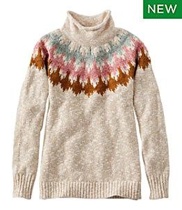 Women's Cotton Ragg Sweater, Funnelneck Pullover Fair Isle