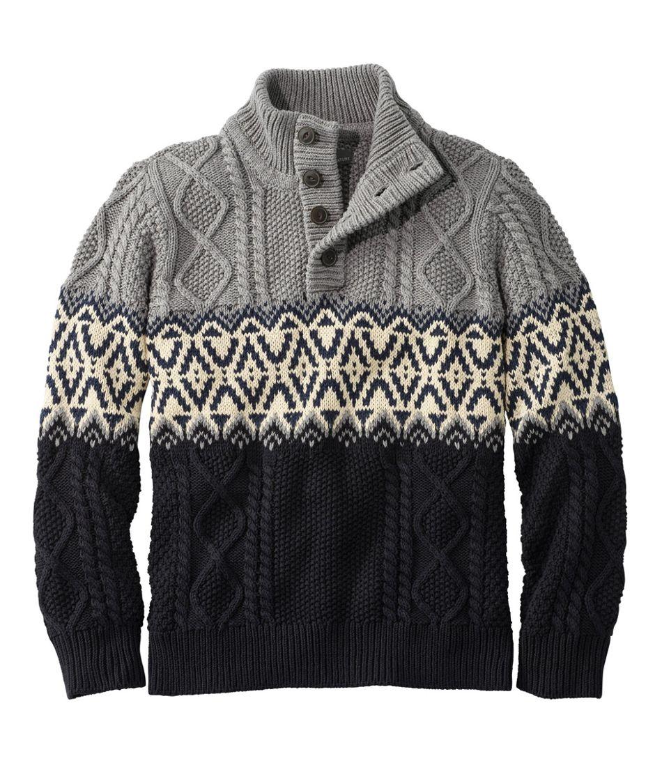 Men's Signature Cotton Fisherman Sweater, Henley, Fair Isle