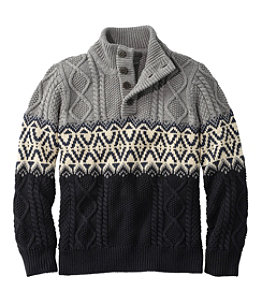 Men's Signature Cotton Fisherman Sweater, Henley, Fair Isle