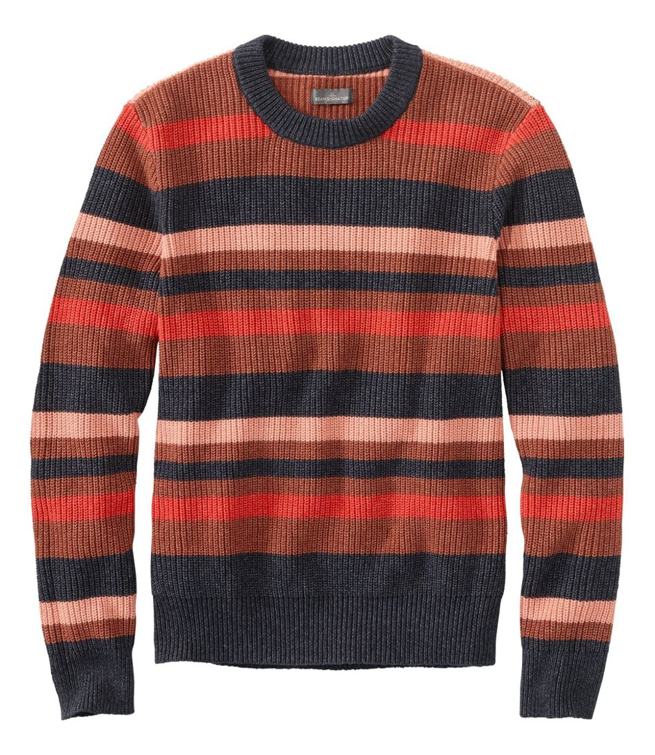Men's Signature Shaker Stitch Sweater, Crewneck, Stripe