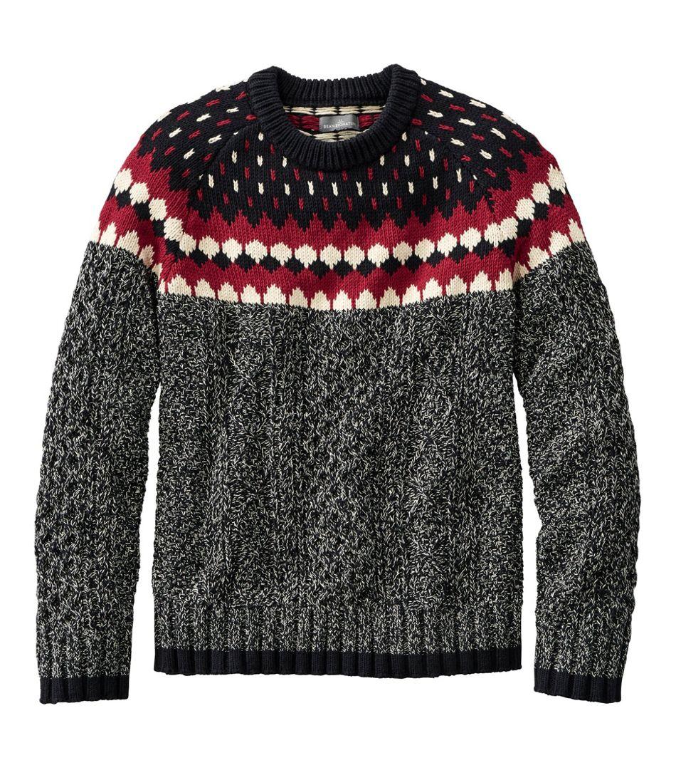 Men's Signature Cotton Fisherman Sweater, Crewneck, Fair Isle
