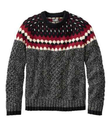 Men's Signature Cotton Fisherman Sweater, Crewneck, Fair Isle