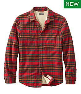 Men's Signature Organic Flannel Shirt, Fleece-Lined