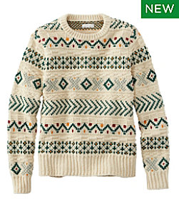 Women's Signature Cotton Fisherman Sweater, Pullover Fair Isle