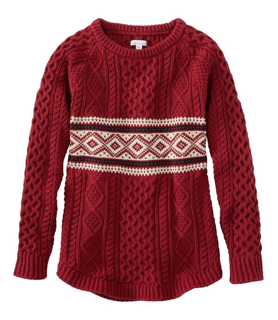 60s 70s Style Sweaters, Cardigans & Jumpers Signature Cotton Fisherman Tunic Sweater Fair Isle $129.00 AT vintagedancer.com