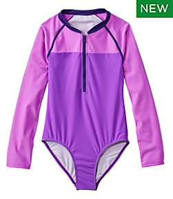 Girls' Watersports Swimsuit II, One-Piece, Long-Sleeve Colorblock