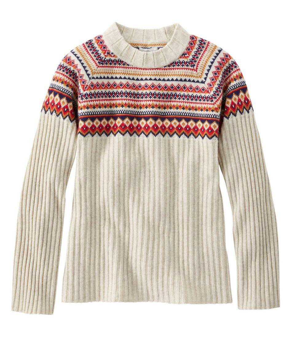 Women's Signature Cashmere Blend Sweater, Jewelneck Fair Isle