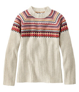 Women's Signature Cashmere Blend Sweater, Jewelneck Fair Isle