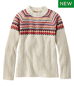 Women's Signature Cashmere-Blend Jewelneck Sweater, Fair Isle
