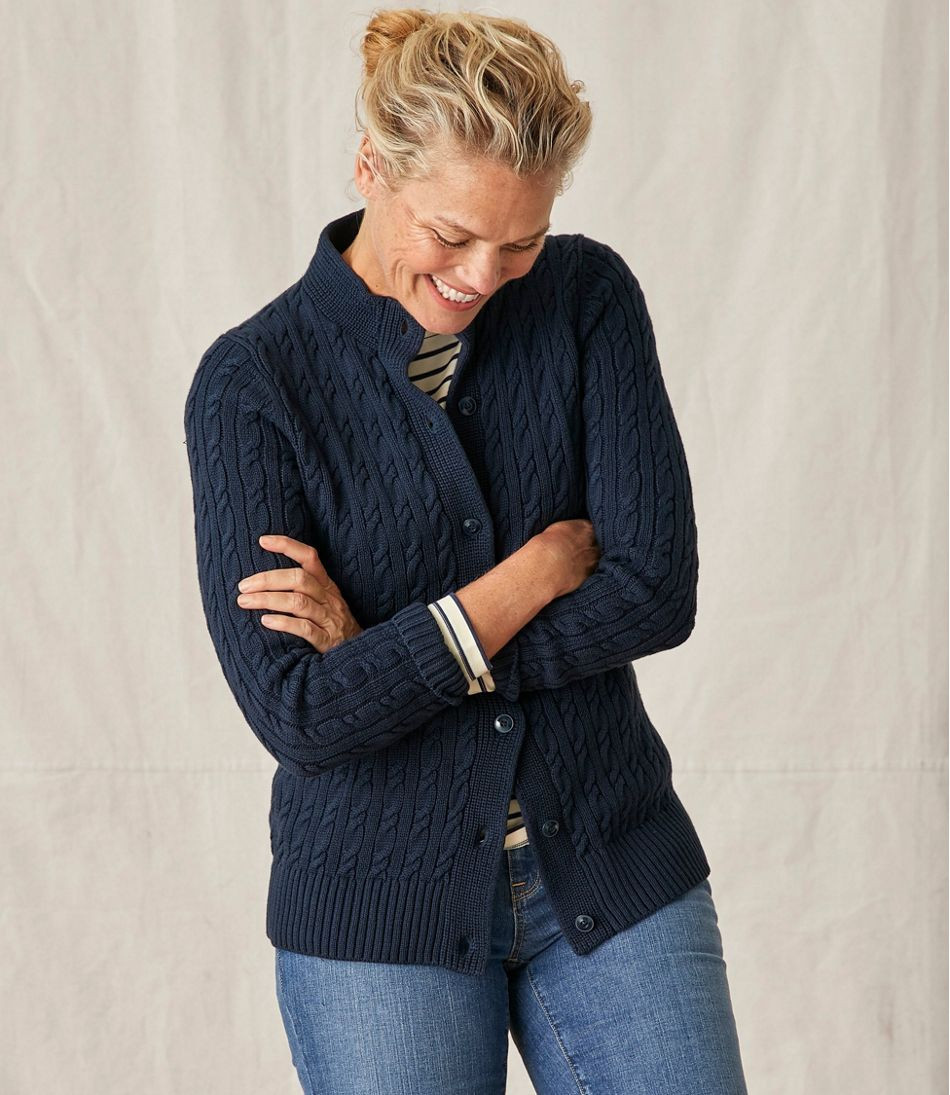 Women's Double L Mixed-Cable Sweater, Button-Front Cardigan