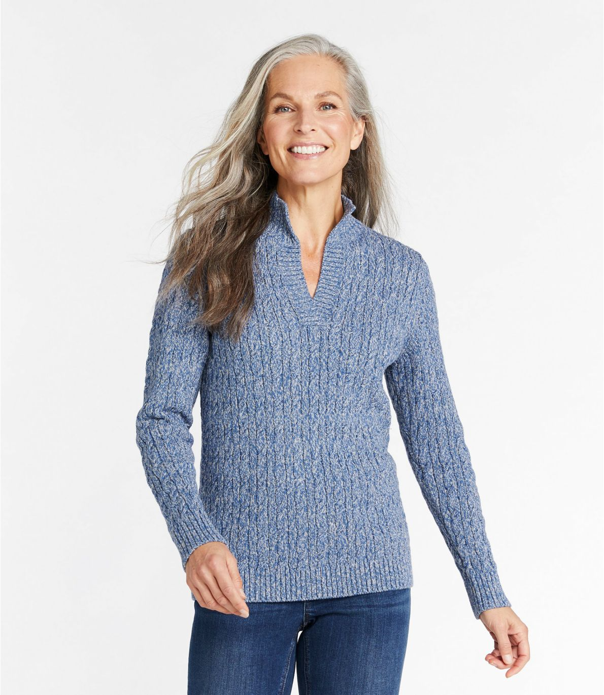 Women's Double L Mixed-Cable Sweater, Splitneck
