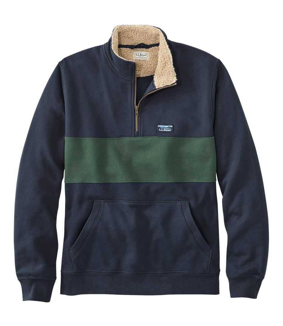 Men's Sherpa Collar Quarter-Zip Sweatshirt, Colorblock