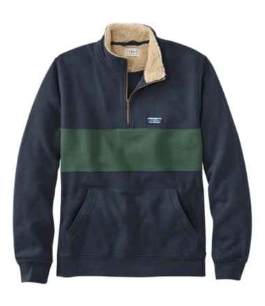 Men's Sherpa Collar Quarter-Zip Sweatshirt, Colorblock