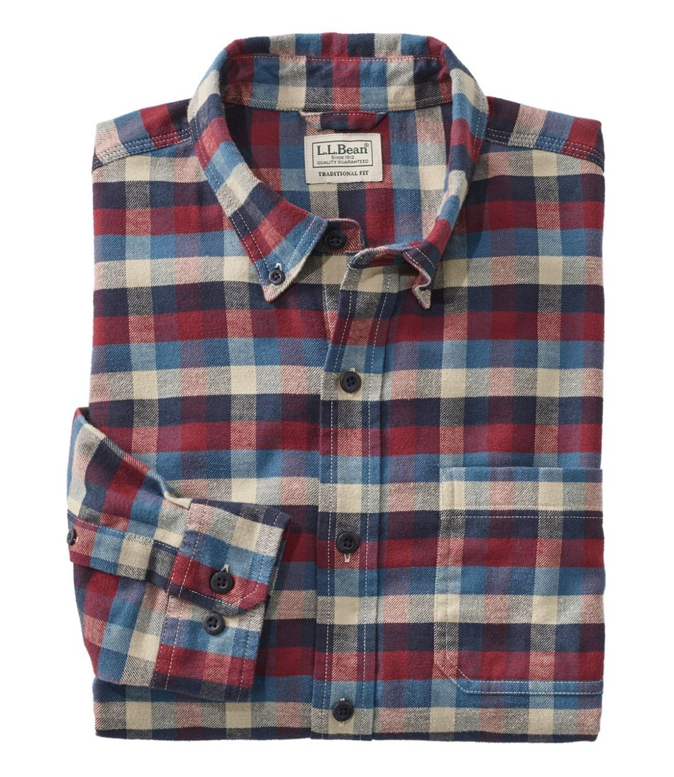 Men's Comfort Stretch Flannel Shirt, Traditional Fit, Plaid