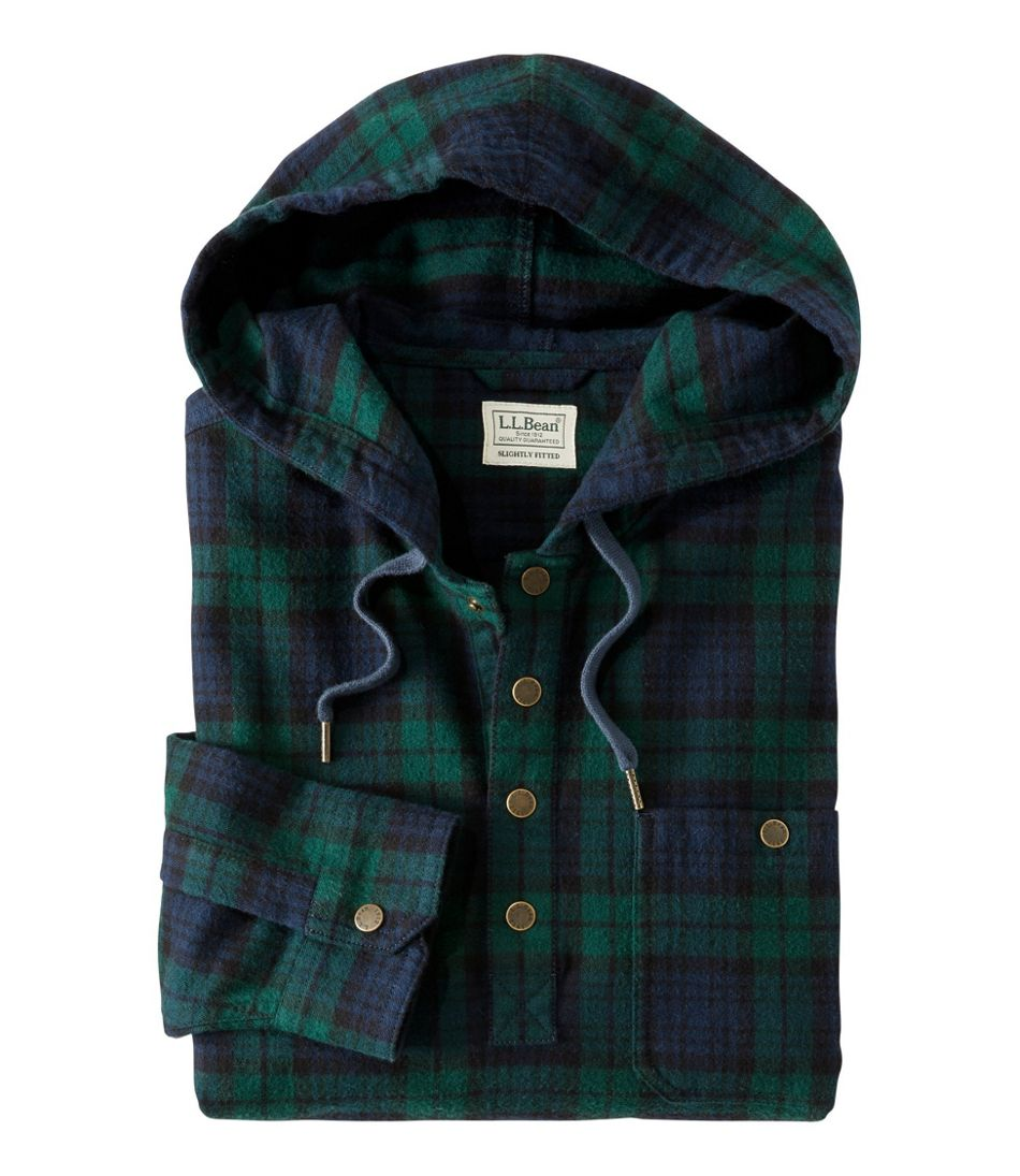 Men's Scotch Plaid Flannel Shirt, Hooded Pullover, Slightly Fitted