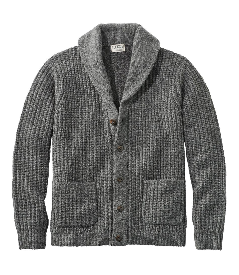 Men's Vintage Sweaters, Retro Jumpers 1920s to 1980s Mens L.L.Bean Classic Ragg Wool Sweaters Cardigan $99.00 AT vintagedancer.com