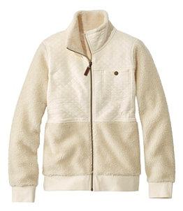 Women's Quilted Sweatshirt, Mixed Media Full-Zip