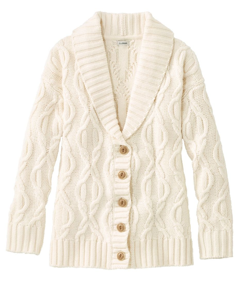 1930s Style Blouses, Shirts, Tops | Vintage Blouses Womens Cozy Fisherman Sweater Cardigan $99.00 AT vintagedancer.com