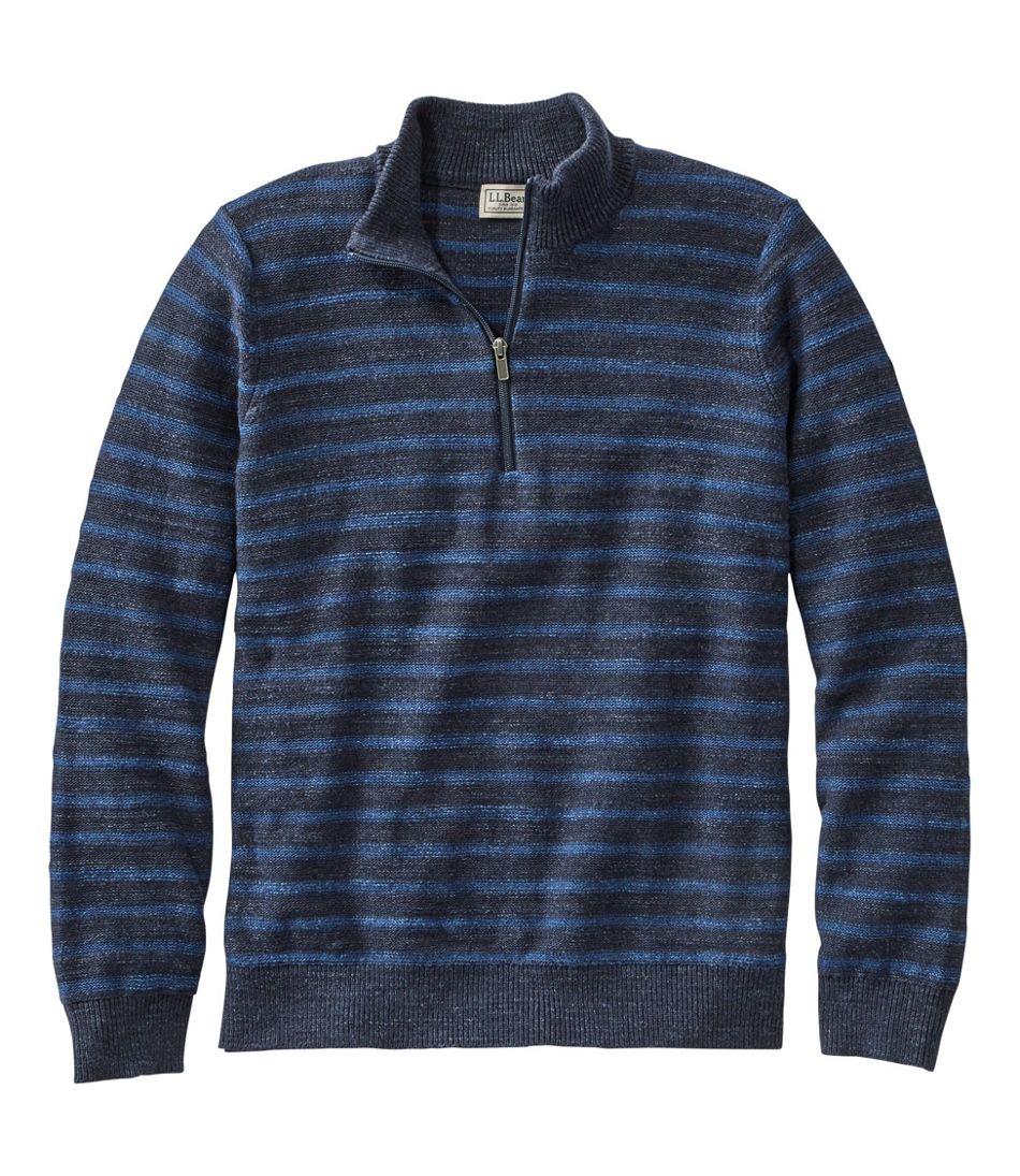 Men's Textured Organic Cotton Sweater, Quarter-Zip, Stripe