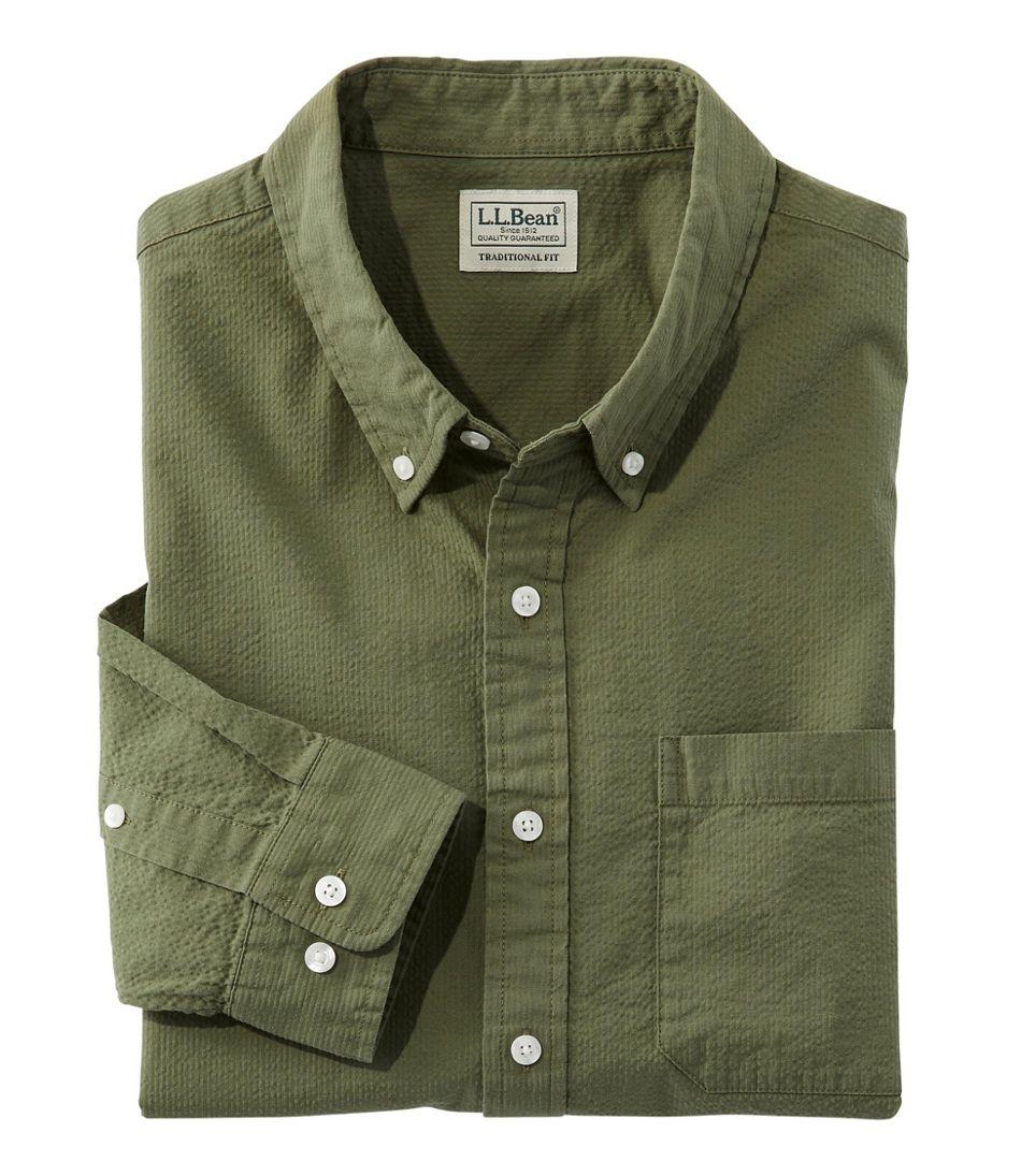 Men's Organic Cotton Seersucker Shirt, Long-Sleeve, Traditional Fit