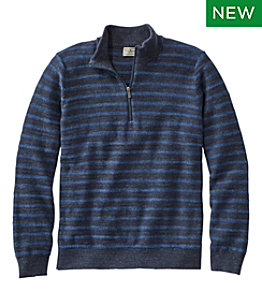 Men's Textured Organic Cotton Sweater, Quarter-Zip, Stripe