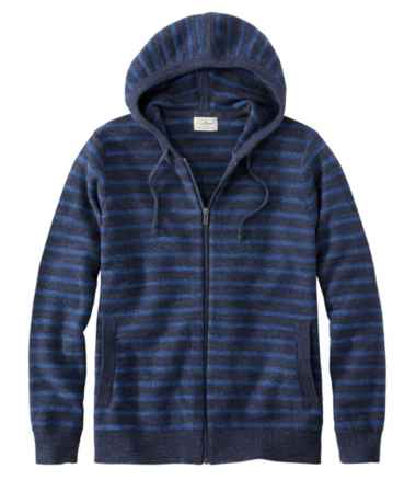 Men's Textured Organic Cotton Sweater, Hooded, Stripe
