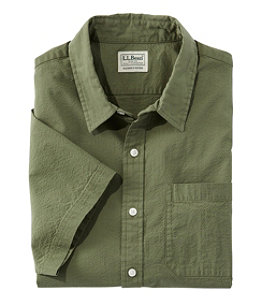 Men's Organic Seersucker Shirt, Short-Sleeve, Slightly Fitted