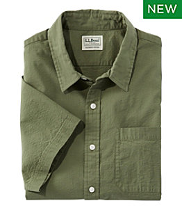 Men's Organic Seersucker Shirt, Short-Sleeve, Slightly Fitted