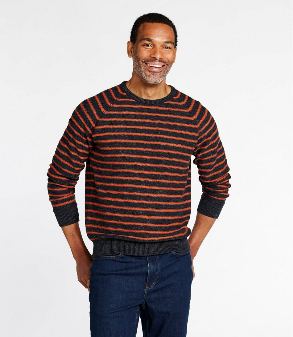 Men's Textured Organic Cotton Sweater, Crewneck, Stripe