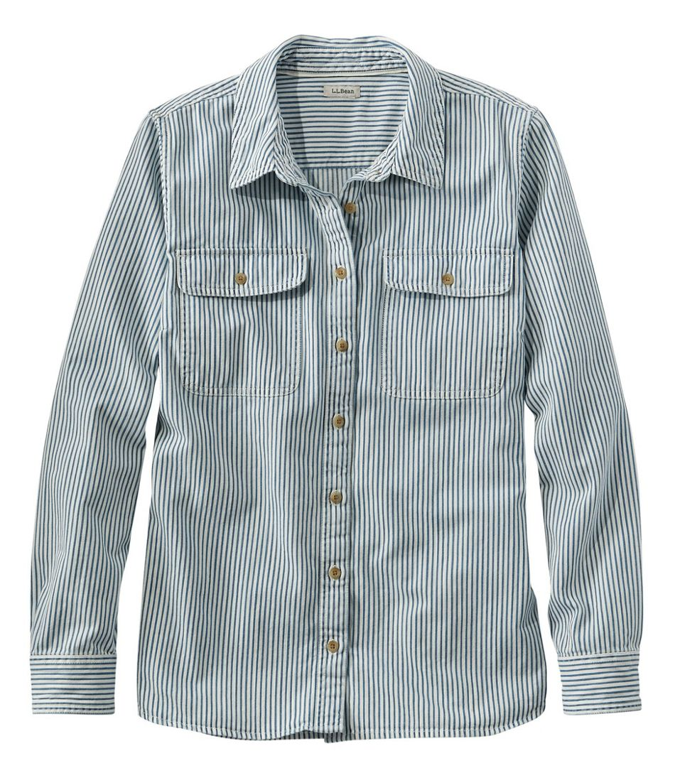 1920s Style Blouses, Shirts, Sweaters, Cardigans L.L. Bean Heritage Washed Denim Shirt Long-Sleeve Stripe $59.95 AT vintagedancer.com