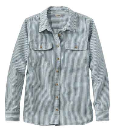 L.L. Bean Heritage Washed Denim Shirt, Long-Sleeve Stripe