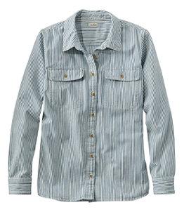 Women's L.L. Bean Heritage Washed Denim Shirt, Long-Sleeve Stripe