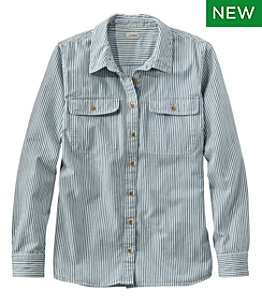 Women's L.L. Bean Heritage Washed Denim Shirt, Long-Sleeve Stripe