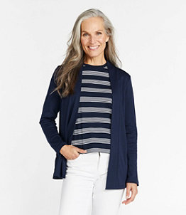 Women's Pima Cotton Open Cardigan, With Pockets