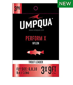 Umpqua Perform X Trout Leader. 9' 3-Pack