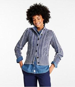 Women's Signature Cotton Fisherman Sweater, Short Cardigan Washed