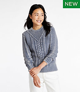 Women's Signature Cotton Fisherman Sweater, Pullover Washed