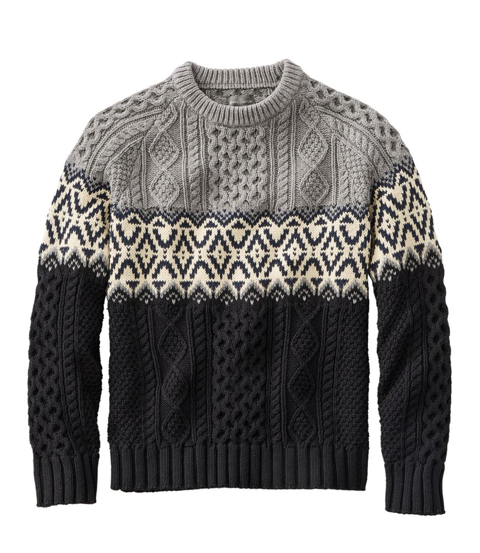 Men's Vintage Sweaters, Retro Jumpers 1920s to 1980s Mens Signature Cotton Fisherman Sweater Crewneck Fair Isle Stripe $109.00 AT vintagedancer.com