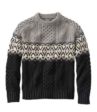 Men's Signature Cotton Fisherman Sweater, Crewneck, Fair Isle, Stripe