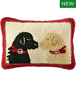 "Wool Hooked Throw Pillow, Two Labs, 14"" x 20"""