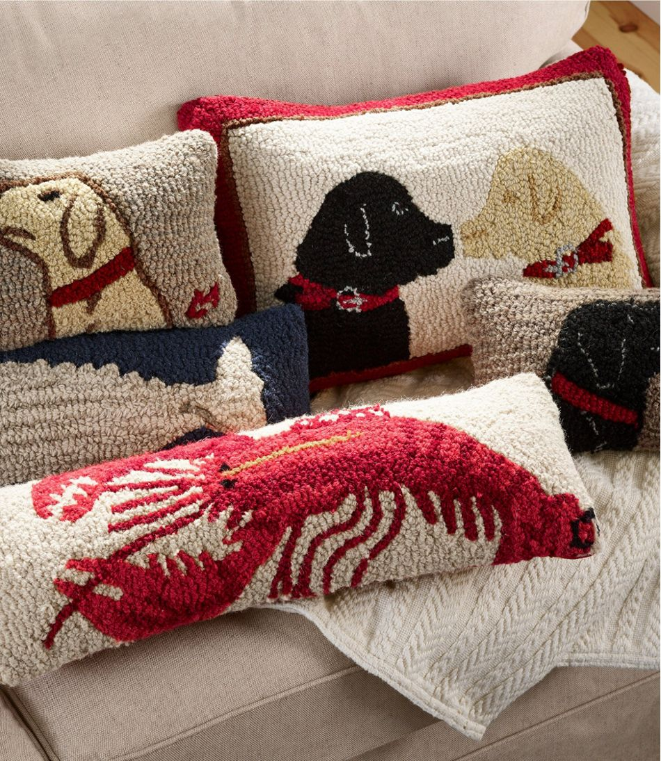 """Wool Hooked Throw Pillow, Two Labs, 14"""" x 20"""""""