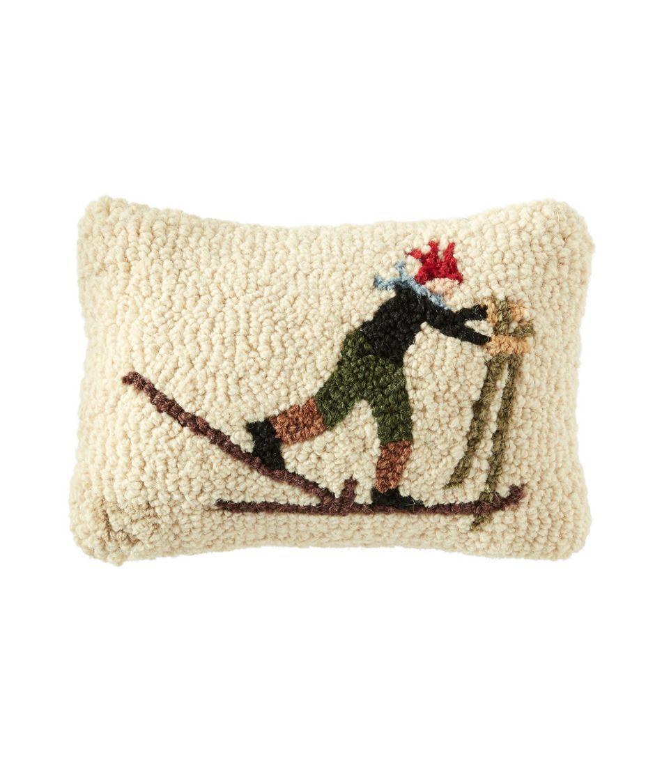 "Wool Hooked Throw Pillow, Ski Racer, 8"" x 12"""