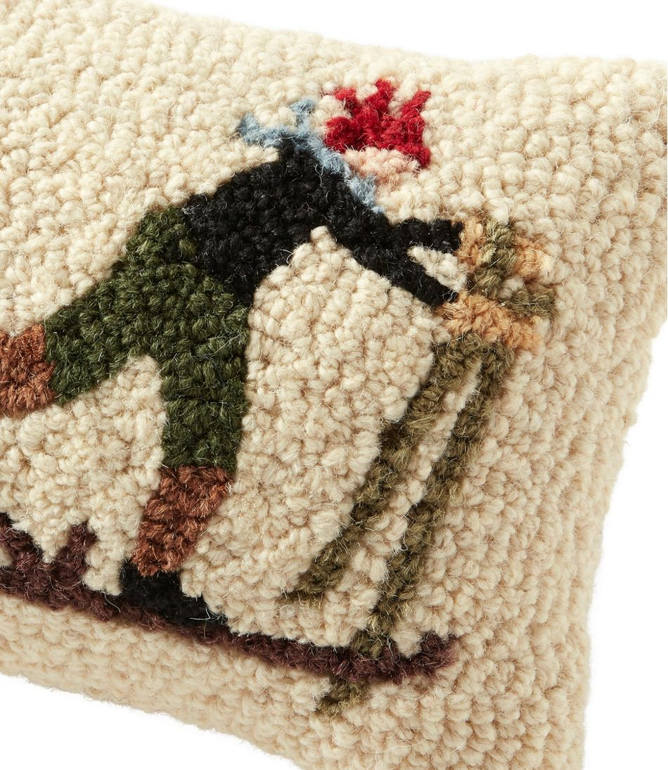 "Wool Hooked Throw Pillow, Ski Racer, 8"" x 12"""