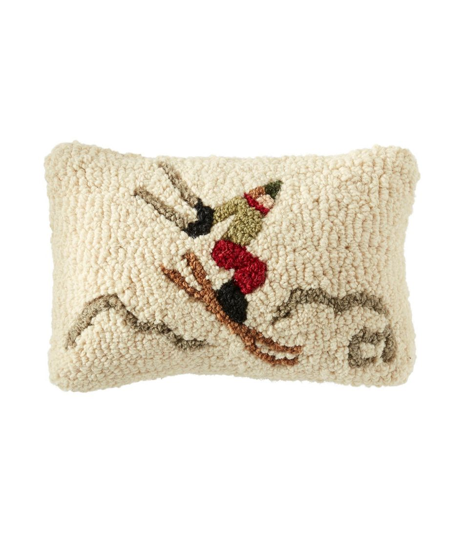 "Wool Hooked Throw Pillow, Ski Jumper, 8"" x 12"""