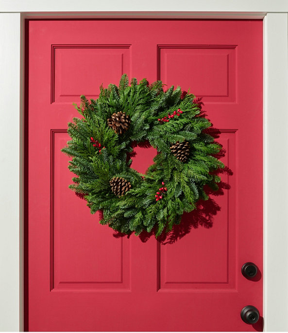 """Woodland Berry Wreath, 20"""", One Color, large image number 1"""