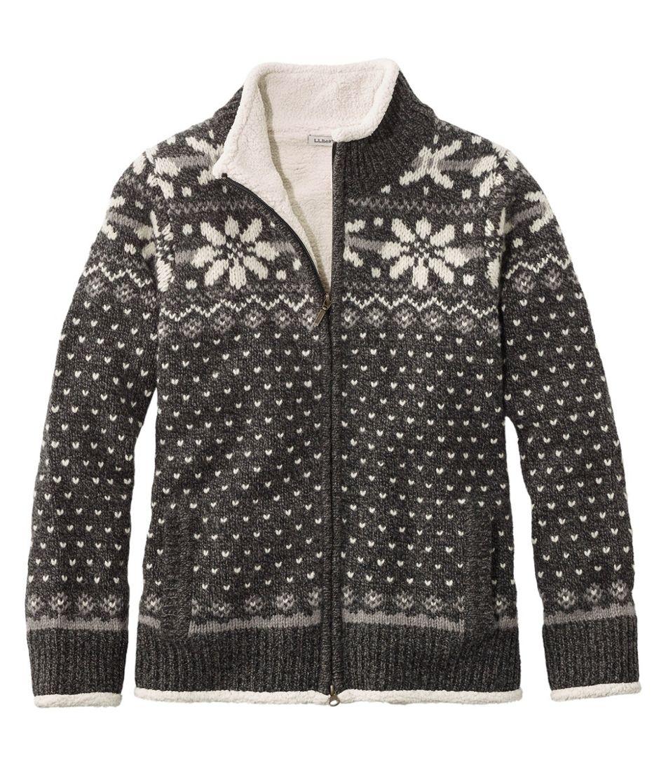 Women's L.L.Bean Classic Ragg Wool Sweater, Sherpa-Lined Zip Cardigan Fair Isle