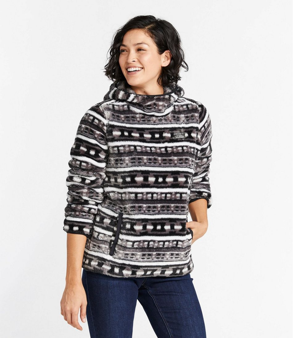 Women's L.L.Bean Hi-Pile Hooded Pullover, Print